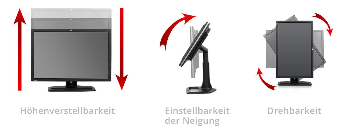 Wichtige Eigenschaften der Monitor Ergonomie sind Höhenverstellbarkeit und die Einstellungsmöglichkeit des Neigungswinkels.