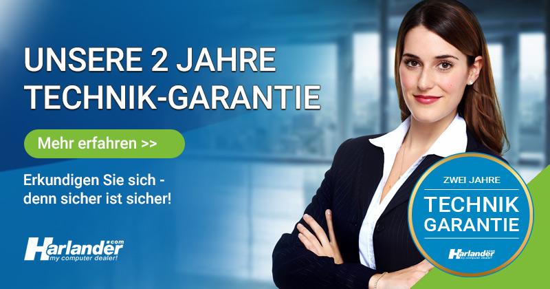 Banner der zu Informationen über die zweijährige Technik-Garantie von Harlander.com führt