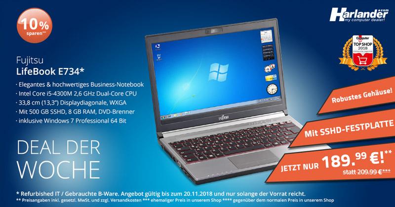 Entdecken Sie das Fujitsu Lifebook E734 - jetzt unser Angebot der Woche
