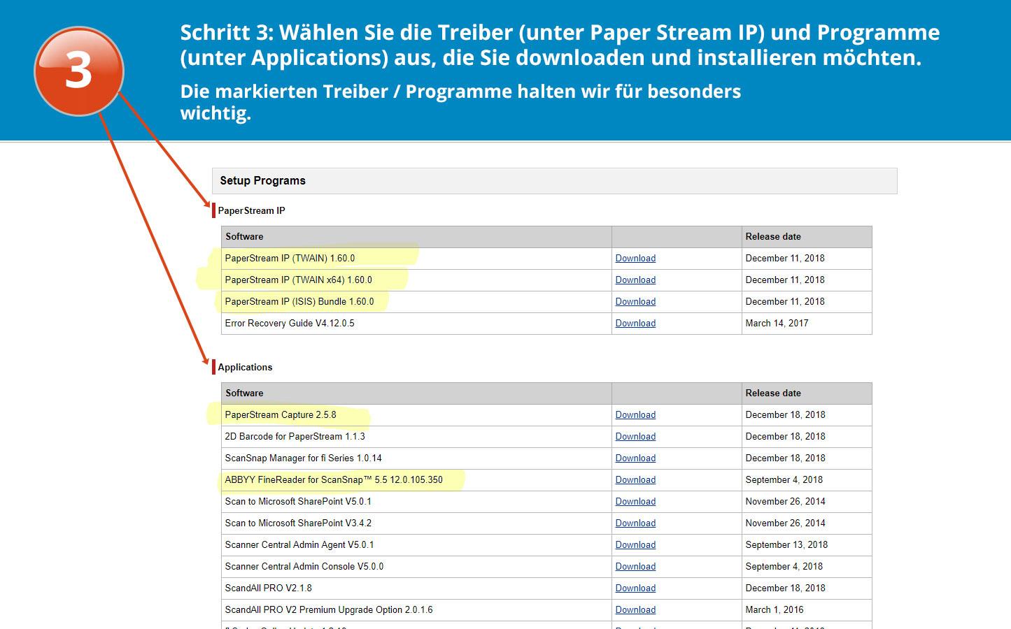 Software download für den fi-7600 Schritt 3 Anleitung