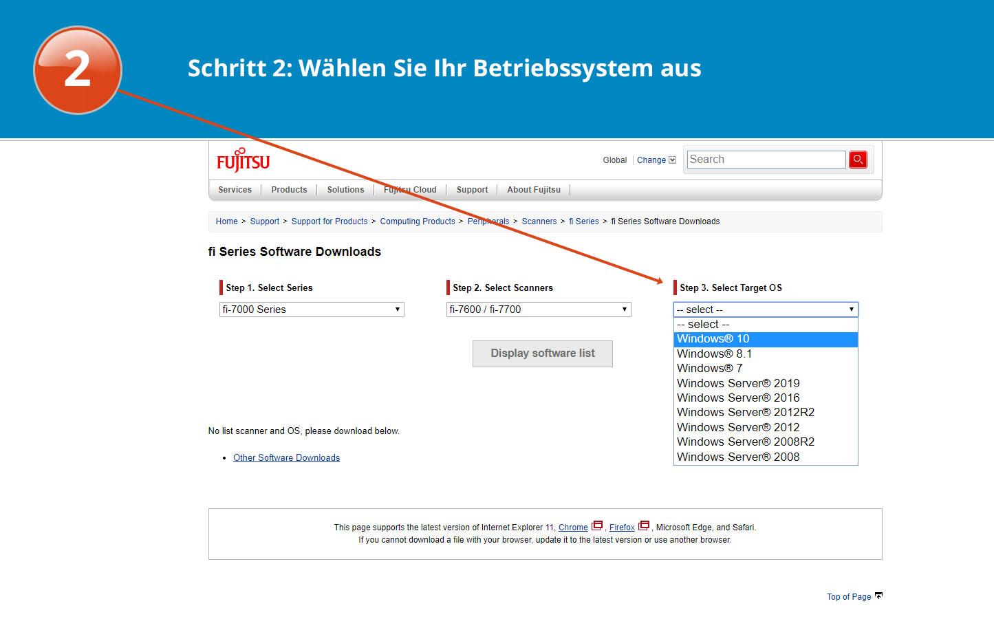 Software download für den fi-7600 Schritt 1 Anleitung