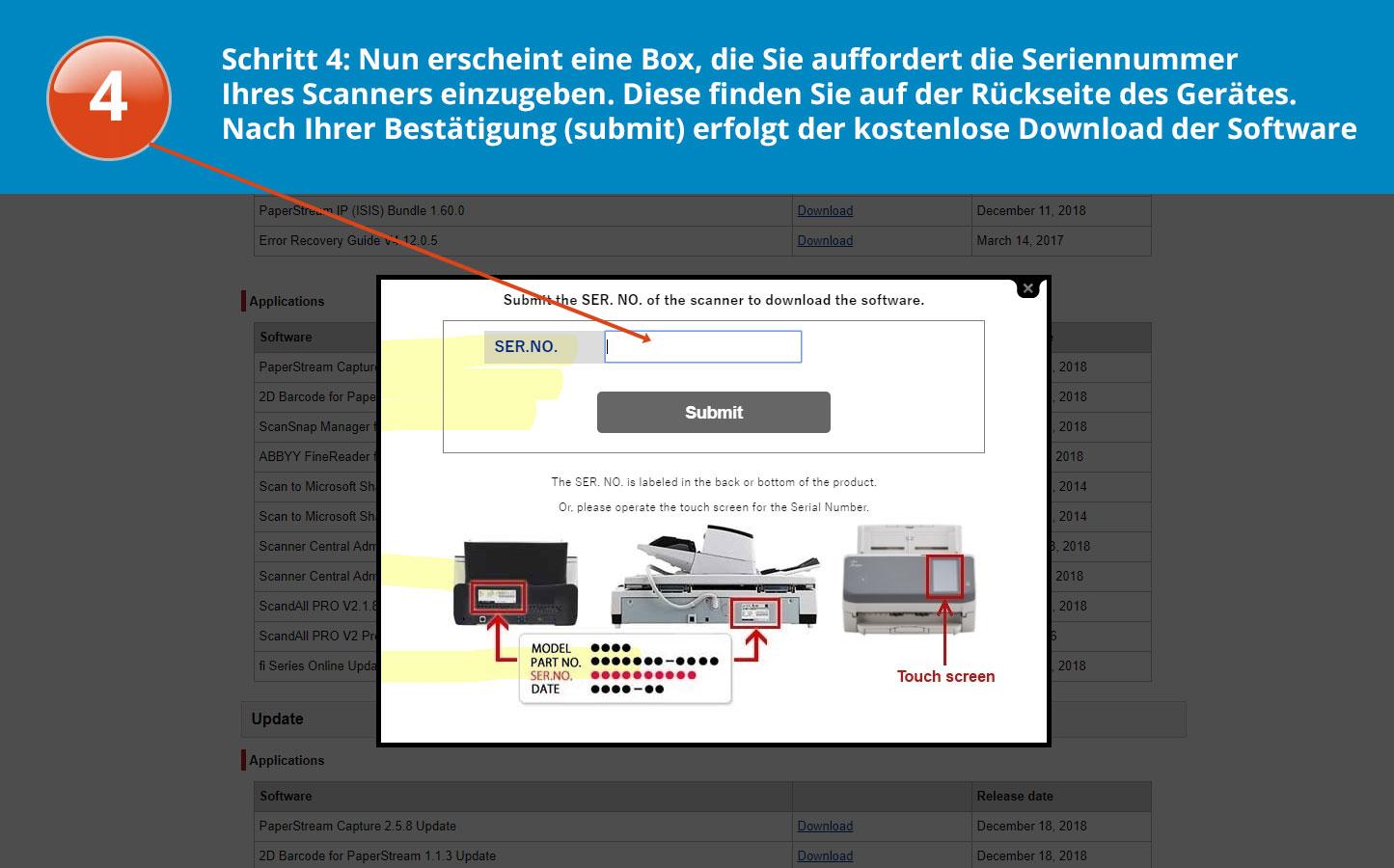 Software download für den fi-7600 Schritt 4 Anleitung