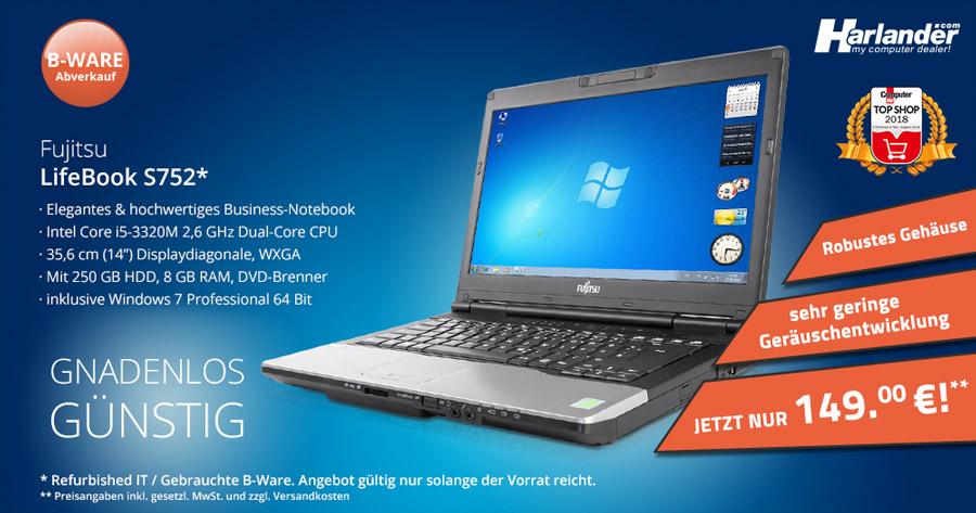 Das Fujitsu lifebook s752 ist ein Business-Notebook mit solider Technik. Jetzt günstig gebraucht kaufen