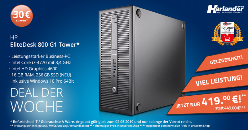 HP Elitedesk 800 G1 Tower – mit i7-Prozessor jetzt im Angebot!