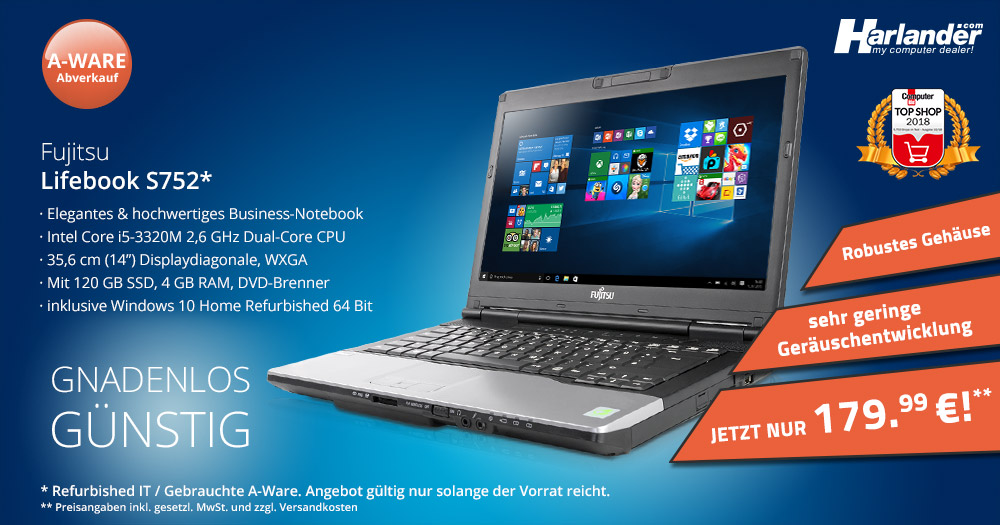Fujitsu Lifebook S752 – sehr günstiges Notebook mit Windows 10