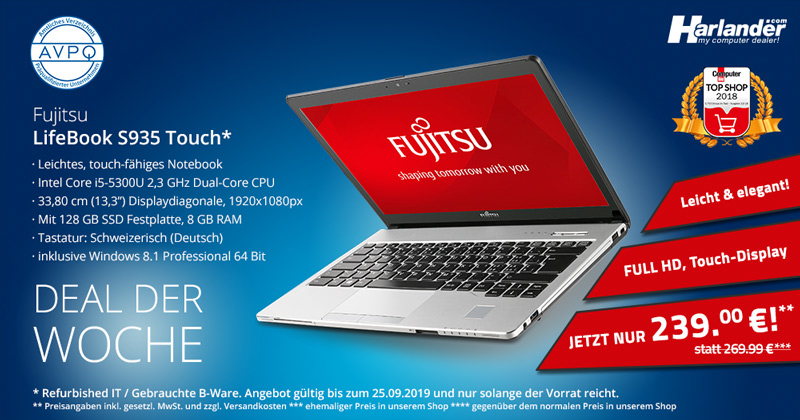 Deal der Woche: das Business-Notebook Fujitsu LifeBook S935 als B-Ware