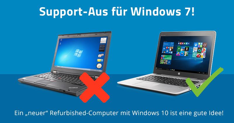 Wenn Sie noch einen Computer mit Windows 7 haben, ist jetzt eine gute Gelegenheit einen gebrauchten Refurbished-Computer mit Windows 10 zu kaufen!