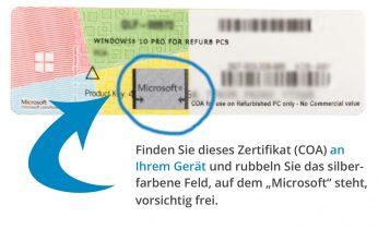 Vorischt - das Rubbelfeld des COA von Microsoft ist empfindlich