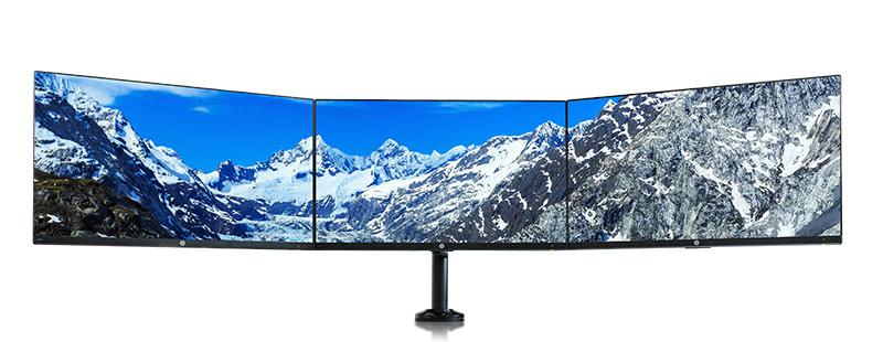 Drei Monitore bilden einen riesigen Arbeitsplatz