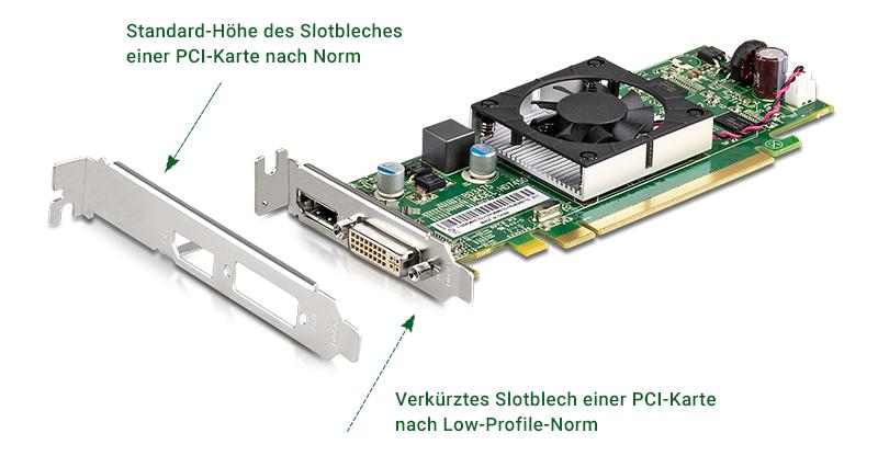 Eine Low Profile Grafikkarte hat eine niedrigere Slot-Blende als eine normale PCIe Karte