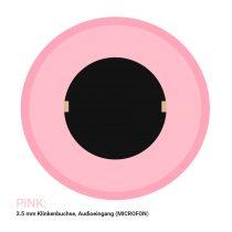 Audioanschlüsse für ein Mikrofon werden an einem Computer mit der Farbe Pink gekennzeichnet