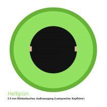 Der typische Audio-Anschluss für die Soundausgabe auf Kopfhörern oder Lautsprechern ist bei einem PC grün